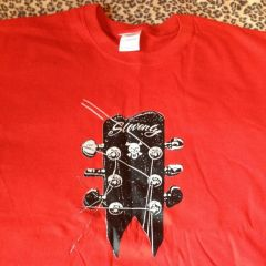 RED SLOVENLY GUITAR LOGO T-SHIRT with BLACK & WHITE PRINT